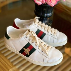 GUCCI Ace web bee sneakers 37 or 6.5 white